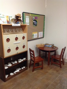 TGO Nature Center, library, kid, corner, touch, feel, display